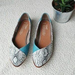 Toms Jutti Snakeskin Pointed Flats Teal Gray